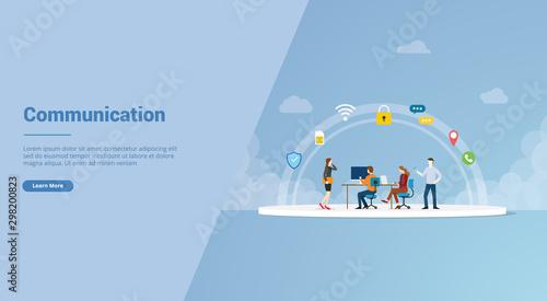 communication teamwork for website template or landing homepage banner - vector Fototapet