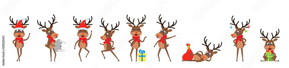 Ustaw śmieszne jelenie, renifery świąteczne, wesołe bajki w czapkach Mikołaja z prezentami <span>plik: #298202657 | autor: -=MadDog=-</span>