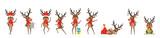 Fototapeta Child room - Set Funny Deers, Christmas Reindeers, Cheerful Cartoons in Santa Hats with Gifts