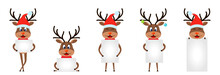 Set Funny Deers With Sheets Of...