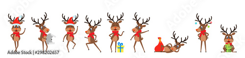 Obraz Set Funny Deers, Christmas Reindeers, Cheerful Cartoons in Santa Hats with Gifts - fototapety do salonu