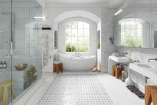 Renovation Of An Old Building Bathroom - 3d Visualization