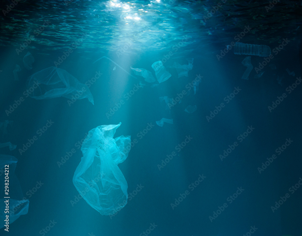 Fototapety, obrazy: Sea or ocean underwater with plastic garbage