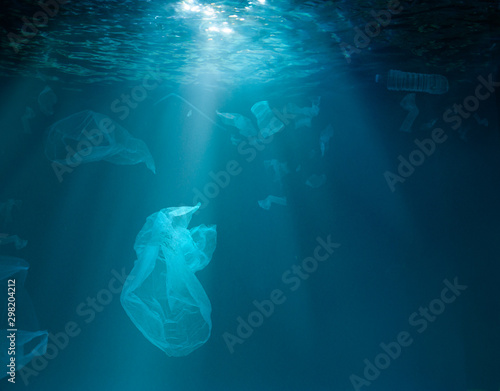 Sea or ocean underwater with plastic garbage
