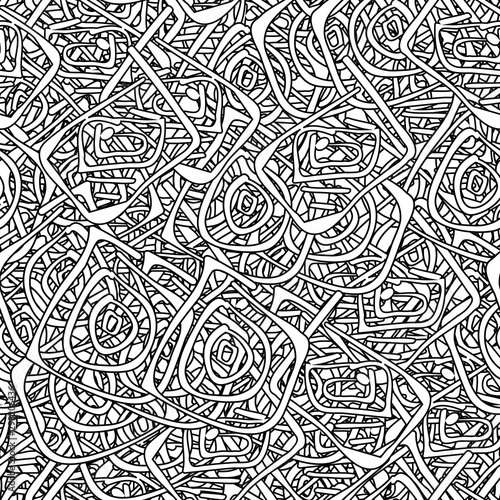 Fototapety, obrazy: Seamless black and white grunge background. Abstract repeating texture of elements. Template to create your own design and print. Chaotic retro backdrop
