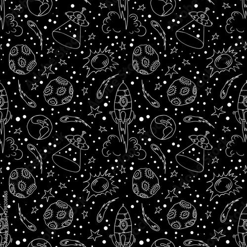 Fototapeten Künstlich Seamless pattern with hand drawn space elements. White doodles on black background. Vector illustartion.
