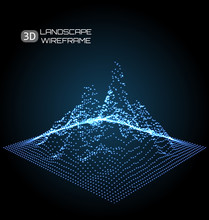 Wireframe Landscape Pattern. B...