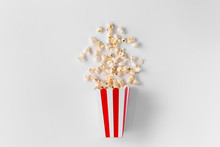 Box Of Popcorn Isolated On White Background Top View