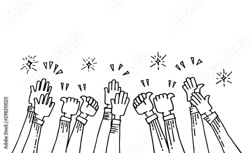 Fotomural  hand drawn of hands up, applause