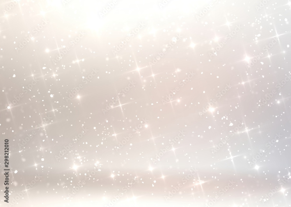Fototapety, obrazy: Bright stars on white beige 3d background. Subtle simple abstract pattern. Light holiday interior.