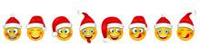 Set Christmas Happy Cheerful Emoticons In Santa Hat
