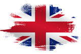 Fototapeta Fototapeta Londyn - Malowana flaga Wielkiej Brytanii na białym tle