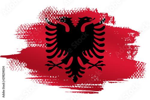 Malowana flaga Albanii na białym tle Tablou Canvas