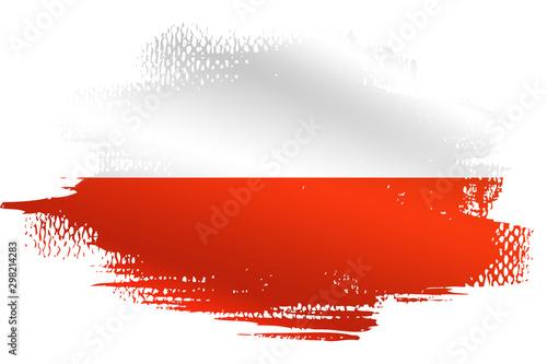 Fotografia Malowana flaga Polski na białym tle