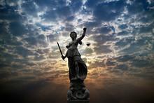 Justilia, Lady Justice Or Themis Against Sunlight