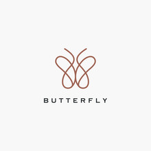 Butterfly Simple Outline Icon Logo Design Minimalist. One Line Icon Butterfly .