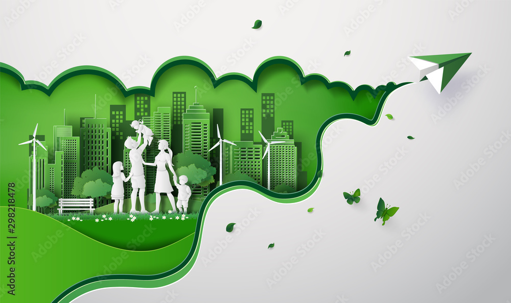 Fototapeta paper cut of eco