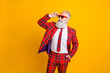 canvas print picture - Photo of cool grandpa white beard model guy standing self-confidently posing for magazine cover wear sun specs tartan red costume outfit isolated yellow color background