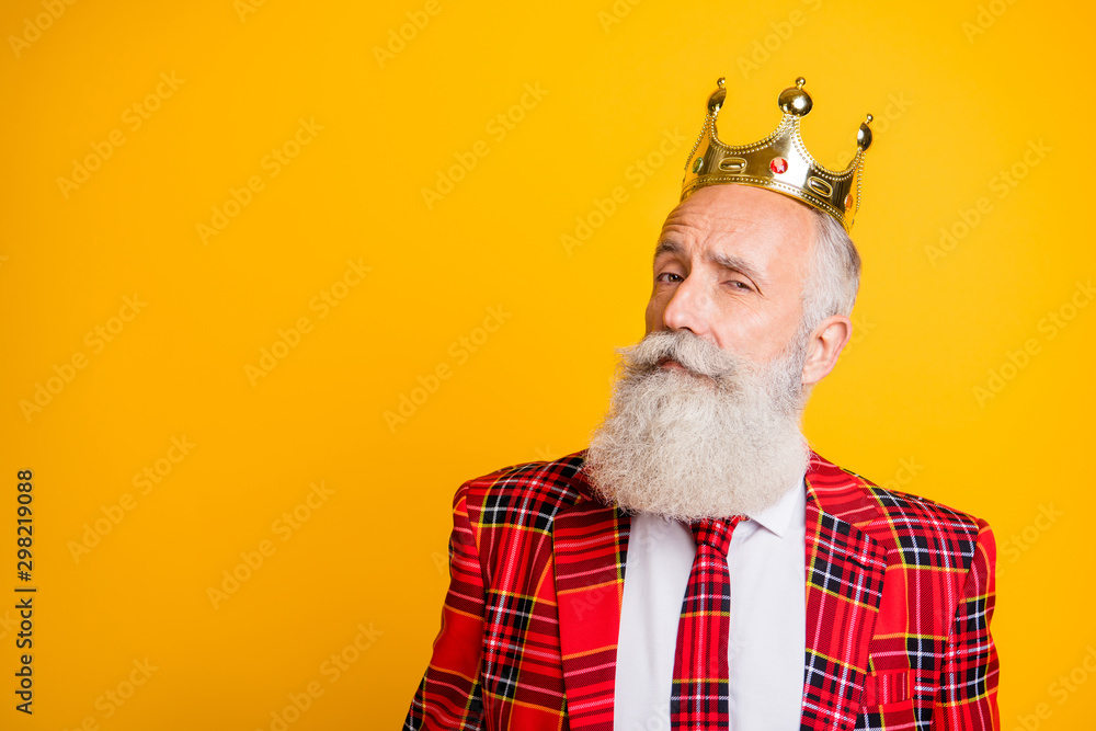 Fototapeta Close up photo of cool look grandpa white beard see pretty young princess flirty eyes wear golden crown red blazer tie outfit isolated bright yellow color background