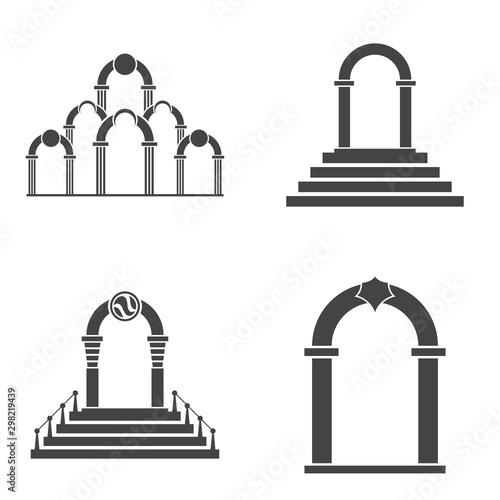 Abstract arch icon set. Black arch vector icon. Canvas Print