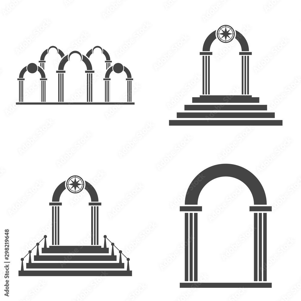 Fototapeta Abstract arch icon set. Black arch vector icon.