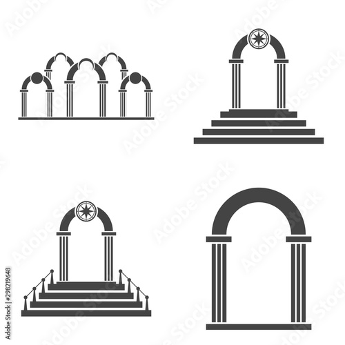 Photo Abstract arch icon set. Black arch vector icon.