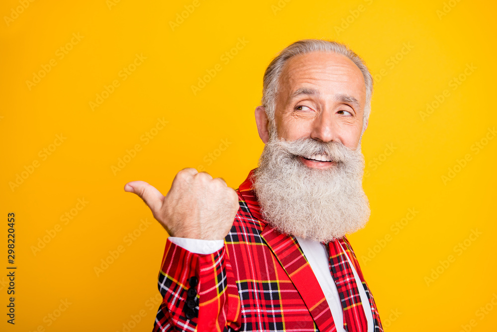 Fototapety, obrazy: Close-up portrait of his he nice attractive cheerful cheery content gray-haired man showing thumbup aside back look ad advert isolated over bright vivid shine vibrant yellow color background