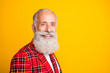 canvas print picture - Closeup profile photo of cool look grandpa guy stylish beard came to romance date in new suit wear hipster tartan blazer tie clothes isolated yellow color background