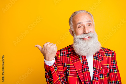 Aluminium Prints Akt Closeup photo of amazing look grandpa guy white stylish beard indicating finger to empty space nice shopping prices wear gingham blazer tie isolated yellow color background