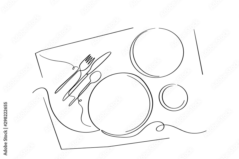 Continuous line art or One Line Drawing of plate, khife and fork. linear style and Hand drawn <span>plik: #298222655   autor: Momay</span>