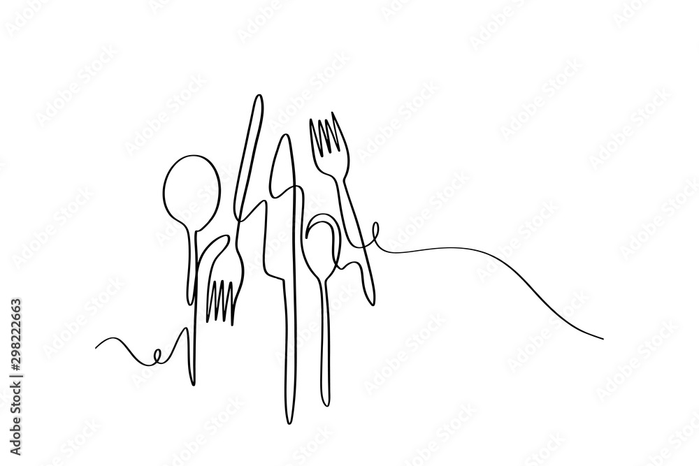 Continuous line art or One Line Drawing of plate, khife and fork. linear style and Hand drawn