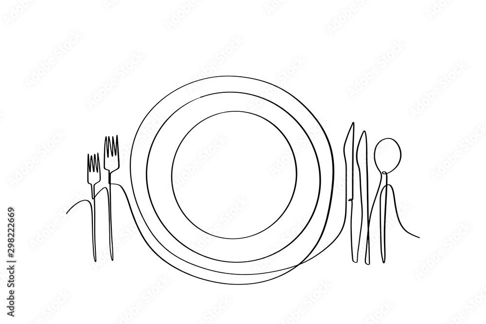 Fototapety, obrazy: Continuous line art or One Line Drawing of plate, khife and fork. linear style and Hand drawn