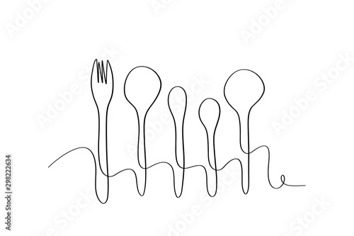 Continuous line art or One Line Drawing of plate, khife and fork Canvas Print