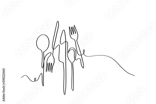 Fotografía  Continuous line art or One Line Drawing of plate, khife and fork