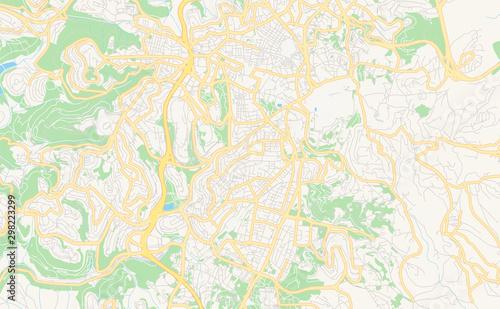 Canvas Print Printable street map of Jerusalem, Israel