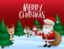 Christmas In Snow Vector Banner Background. Merry Christmas Greeting Text With Xmas Characters Of Santa Claus, Reindeer, Snowman, And Elf With Pine Tree And Snow In Red Background. Vector Illustration