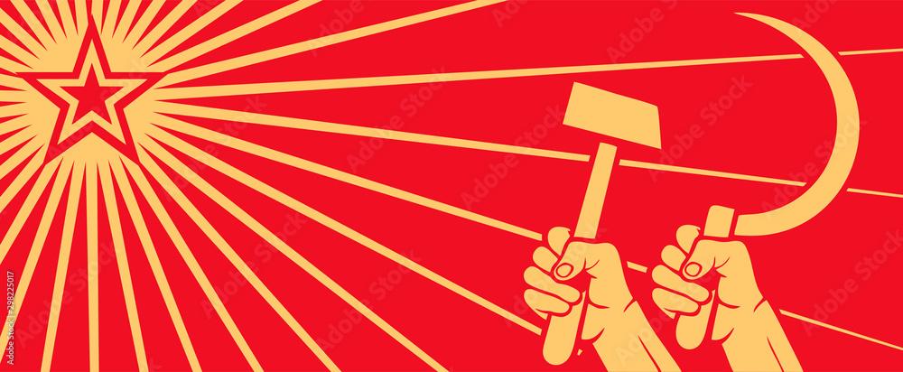 Radziecki czerwony plakat propagandowy zimnej wojny, wyniesiony w powietrze, sierp i gwiazda komunizmu. ZSRR. Wektor