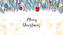 Merry Christmas And Happy New Year Greeting Card With Decoration Background.