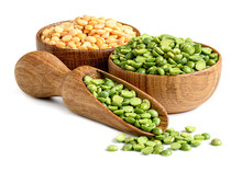 Split Dried Peas In A Wooden Bowl With Scoop