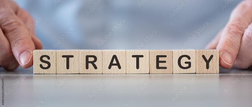 Fototapeta Word strategy on cubes