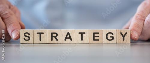 Fototapeta Word strategy on cubes obraz