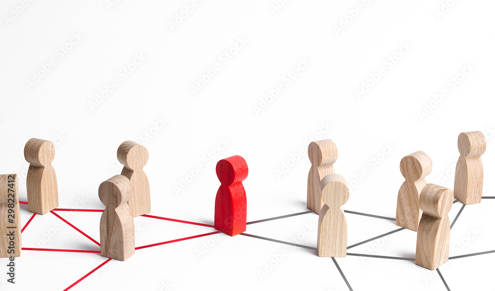 Fototapeta People's communication network is connected through one person. Mediator and pick. Obstruction of whole system and bureaucratic obstacles. Weak link, failure to complete the task. Responsible leader