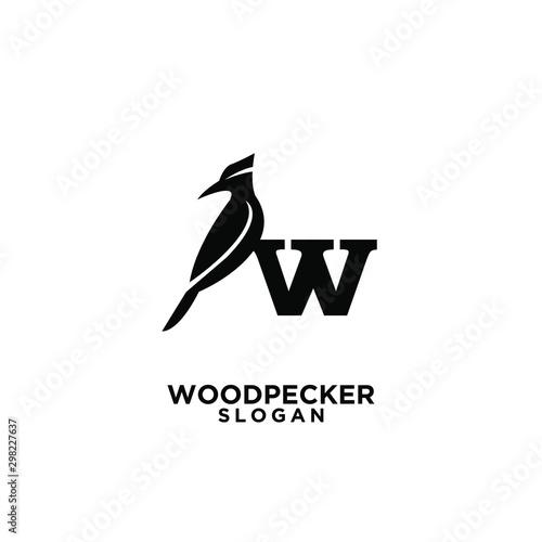 woodpecker bird black silhouette logo icon design template vector Wallpaper Mural