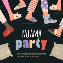 Colored Pajama Party Poster. V...