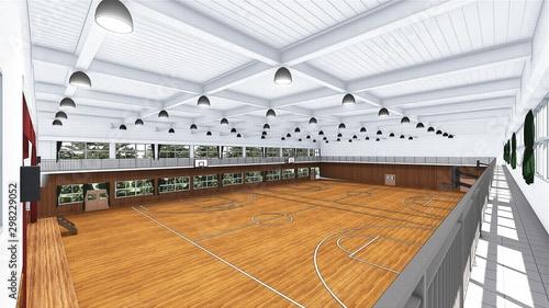 Fotomural  体育館 学校 バスケットボール イラスト1-47