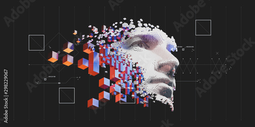 Obraz Abstract digital human face.  Artificial intelligence concept of big data or cyber security. 3D illustration  - fototapety do salonu