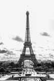 Fototapeta Wieża Eiffla - Paris, France, 09.10.2019: Eiffel Tower. Black and white photo. Vertical.