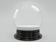 Beautiful Snow Ball Or Snowglobe Empty Inside. 3d Rendering