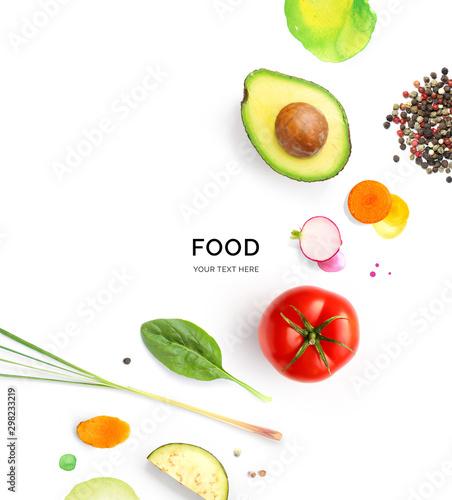 Fotografía Creative layout made avocado, tomato, carrot, radish, lemongrass and black pepper on white background