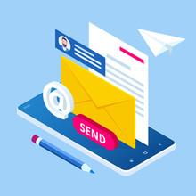 Isometric Email Inbox Electron...